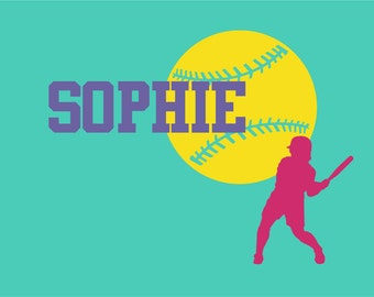 Softball Wall Decal Wall Art Custom Name