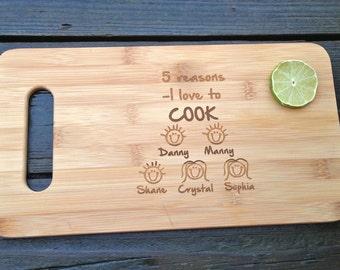 FAMILY Cutting Board - Personalized Bamboo Engraved Cutting Board 14 X 7.5 Cute Family Personalized Cutting Board Unique Gift Idea