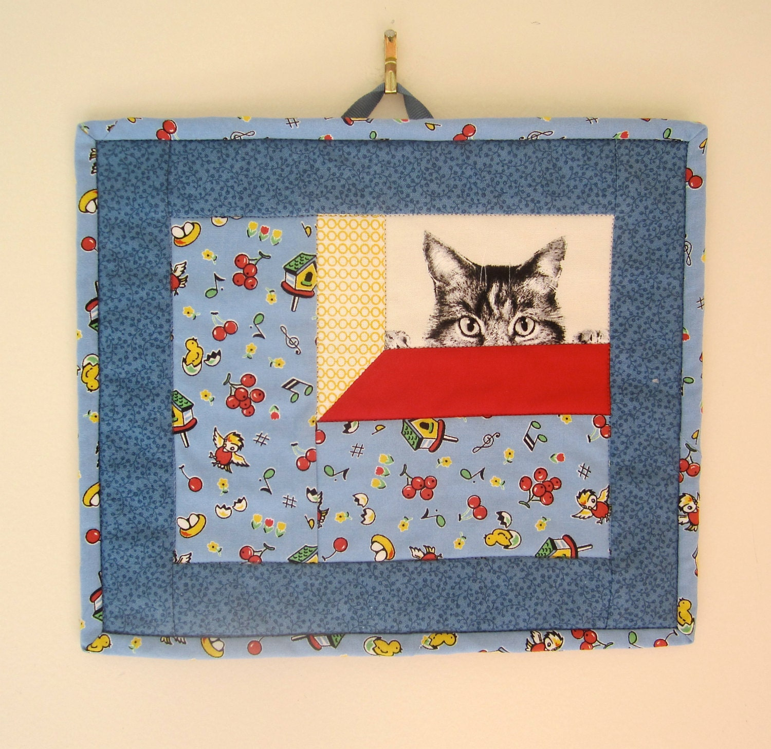 For The Birds And The Cats Mug Rug Mini Quilt Snack Mat
