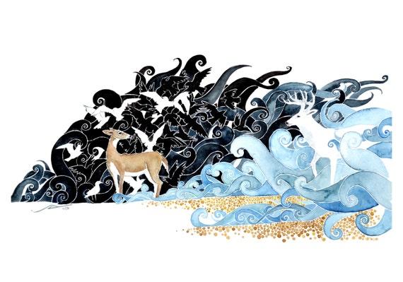 Montauk - deer art giclee print watercolor reproduction