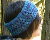 Crocheted Headband / Earwarmer in Shades of Blue and Purple