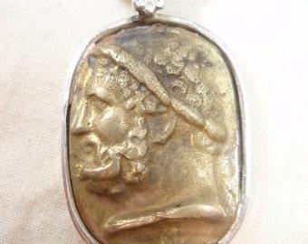 Original Ezi zino Roman dog tag Brass coin Pendant Handmade solid Sterling Silver 925