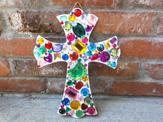 Wall Decor With Rhinestone : Rainbow bejeweled rhinestone cross wall decor by glitterfusion