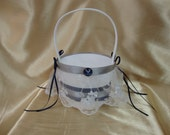 White Flower Girl Basket with Blue and Silver Colors and Air Force Deco