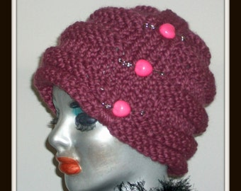 HAT WOMEN  KNITTED   Winter hat Women Hat  Bulky and Warm Chunky Soft Pins Bead Beehive  style Comfortable