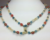 Red Millefiori and Blue Agate Beaded Necklace, Blue Agate, Citrine and Yellow Agate, Long Gemstone Necklace, Boho Chic Jewelry