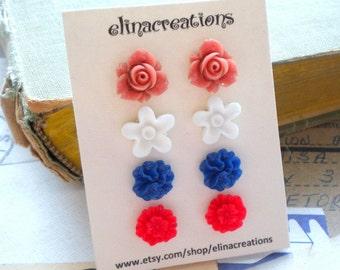 Flower Girl Earrings Stud Flower Earrings Children Earrings Gift For Girls Post Flower Earrings Flower Post Earrings Set of Four Resin