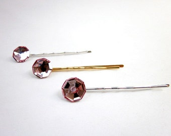 Pink Crystal Hair Pin -- Swarovski Hair Pin -- Sparkling Bobby Pin -- Pink Bobby Pin -- Pink & Silver Hair Pin -- Swarovski Pin -- Pink Pin