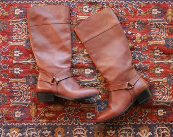 SALE Vintage Leather Boots / Riding Boots / Tall Leather Boots / Harness Equestrian Boots / Brioso Boots / Size US 8 / Uk 5.5 / Eu 38.5
