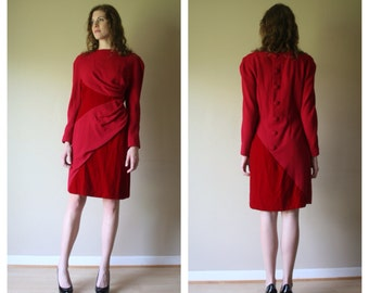 SALE 80s Scaasi / Suit Dress / Dress with the 1,295 Price Tag Still Attached with Velvet and Wool Draping Size Medium med  (4-6-8)