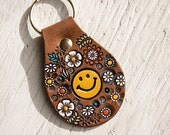 Happy Smiley Face Floral Leather key ring - hand painted and hand stamped - Your Choice of Happy Face Color