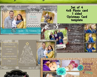 INSTANT DOWNLOAD Set of 4 Slimline 4x8 Christmas card template psd files , customized , personalized