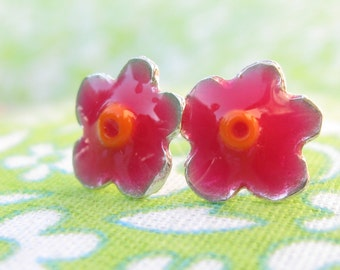 Girls Earrings.Silver Studs.Tiny Flower Studs Earrings.Pink earrings.flowers earrings.flower post earrings.resin studs.girls post earrings.