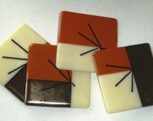 Coasters (set of 4) Fused Glass - Carmel, Vanilla, Gold Iridized Glass
