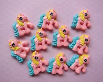10 Pink Unicorn Pony Resin Cabochons Flat Backs