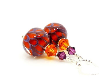 Purple and Orange Earrings, Lampwork Earrings, Glass Earrings, Glass Bead Earrings, Beadwork Earrings, Lotus Flower Earrings, Unique Earring