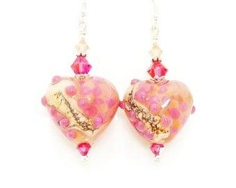 Pink Peach Heart Earrings, Lampwork Earrings, Glass Earrings, Victorian Earrings, Romantic Earrings, Beadwork Earrings, Glass Jewelry
