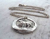 Deer, Elk Wax Seal Necklace. Deer Fine Silver Pendant. Woodland Deer Necklace. Wax Seal Jewelry.