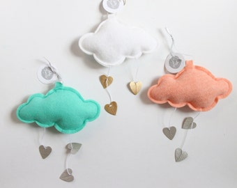 Mini Heart Cloud - choose your colors - keepsake nursery decor in metallic faux leather and felt- Free US Shipping