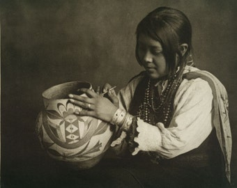 American Indians pottery girl Image 8 1/2 x 11 Image