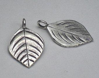 Leaf Charm Pendant 21mm Karen Hill Tribe Fine Silver Leaves 2 pcs. HT-194