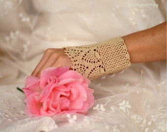 Wedding Lace Bridal Gloves, Crochet Bridal Gloves, Bridal Cuffs, Oatmetal, Beige, Lace Gloves, Bridesmaids Gifts, Teamt