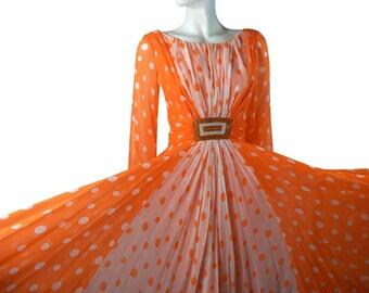 Vintage 70s sheer Silk Polka Dot Maxi Dress, Creamsicle Orange & White Goddess Gown