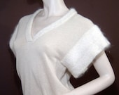 Cashmere mohair pullover sweater top - Small - short sleeve - Valerie Louthan of Scotland - oatmeal cream - avant garde design