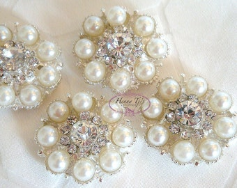 6 pcs - 22mm Crystal Rhinestone Pearl Buttons with SHANK- Flower Center / wedding / hair / dress / garment accessories