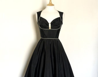 Black Grosgrain Bustier Evening Dress with Sparkly Gold Piping-  Made by Dig For Victory