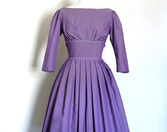 SALE! Size UK 14 (US 12) Lilac Cotton Audrey Prom Dress - Made by Dig For Victory