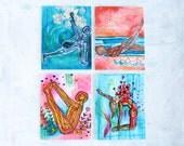 Yoga Art Stationary -Notecards (Set of Four) - yoga stationary, yoga art, yoga gift