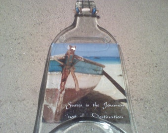 Success is a Journey - Melted Bottle cheese tray - wall decor.