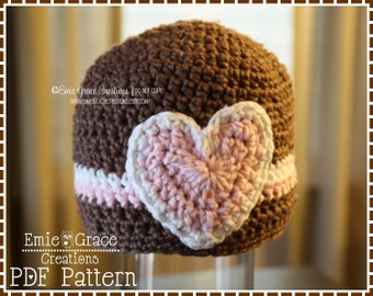 Heart Hat Crochet Pattern, 8 Sizes from Newborn to Adult, ALEXIS - pdf 205
