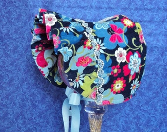 Winter Baby Bonnet Corduroy Navy Blue Flowers and Birds with Fleece Lining