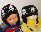 Little Brother Hats - Sibling Hat set of 2 hats - Wool hats - Skull hand knit hats - toddler gift