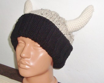 Viking hat, men's hat, man's hat, funny hat, party hat, adult men's hat, knit viking hat, cream, black viking horns hat