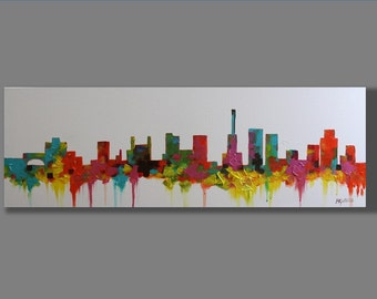 Original Acrylic Painting, Acrylic Painting, Modern Painting, Abstract Painting, Cityscape Painting, Red Acrylic Painting
