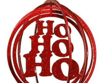 Christmas Ho Ho Ho Tini Swirly Metal Wind Spinner