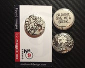 """Set of 3 Calvin and Hobbes pins plus a free """"Mystery"""" pin!"""