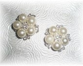 Pearl Cluster and Rhinestone Shoe Clips...Wedding, Formal Party, Special Occasion