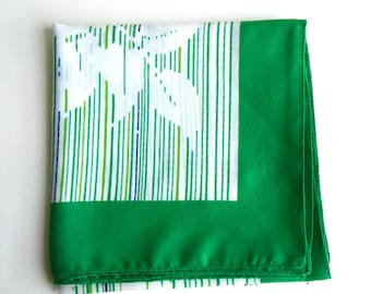 Retro Green Blue and White Striped Floral Motif Scarf
