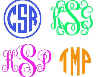 Vinyl Monogram Decal 2in