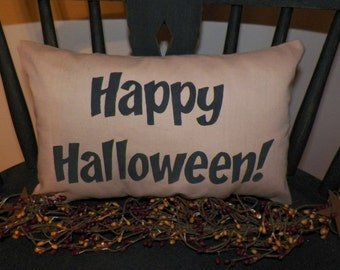 UNSTUFFED Primitive Pillow COVER Happy Halloween Country Home Decor Fall Decoration Painted Pillowcase Ornie Bowl Filler Prim wvluckygirl