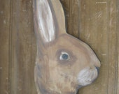 Primitive Folk art rabbit head sign painting great Easter, spring or garden decor