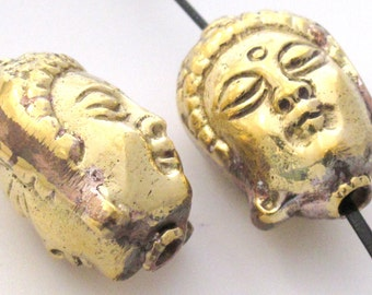 Large heavy Antiqued Tibetan solid Brass reversible  Buddha face focal  pendant bead - BD419