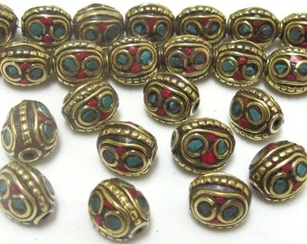 Ethnic Tibetan brass beads with turquoise and coral inlay - 2 beads - BD435