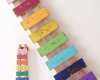 Wooden Wall Art Large Rainbow Xylophone - Vintage Style