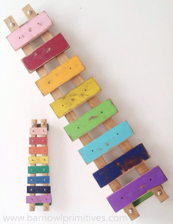 Items similar to wooden wall art large rainbow xylophone