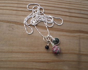 Ruby Zoisite and Emerald Charm Necklace